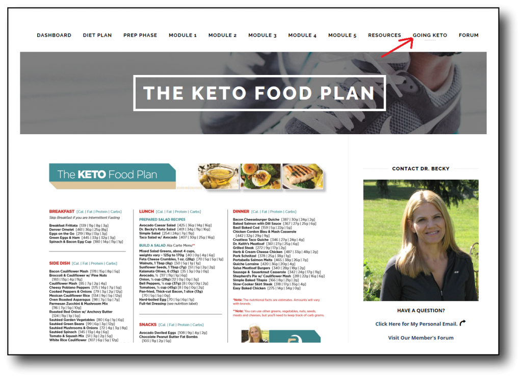 Going Keto Food Plan Page