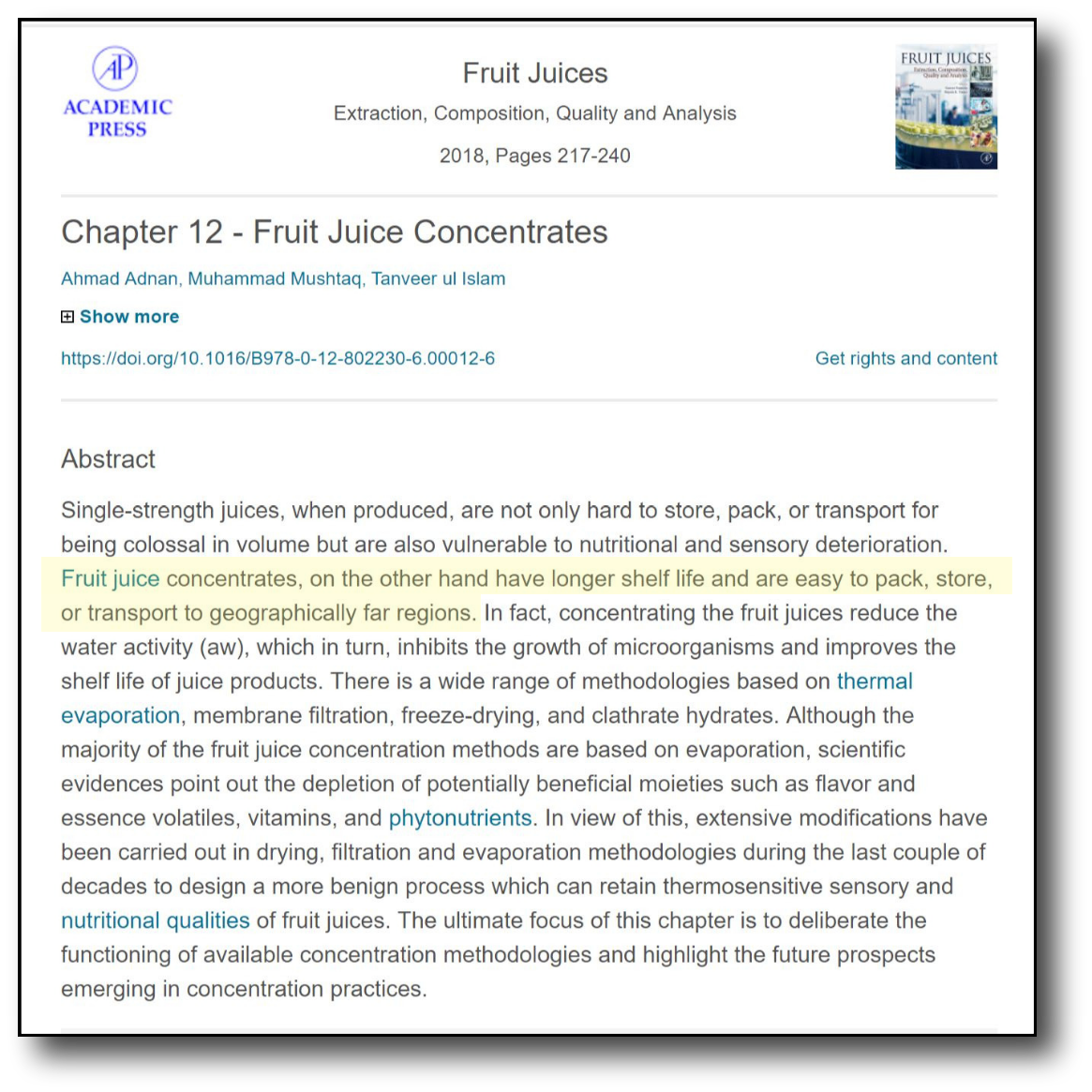 Fruit Juice Concentrate - academic Press
