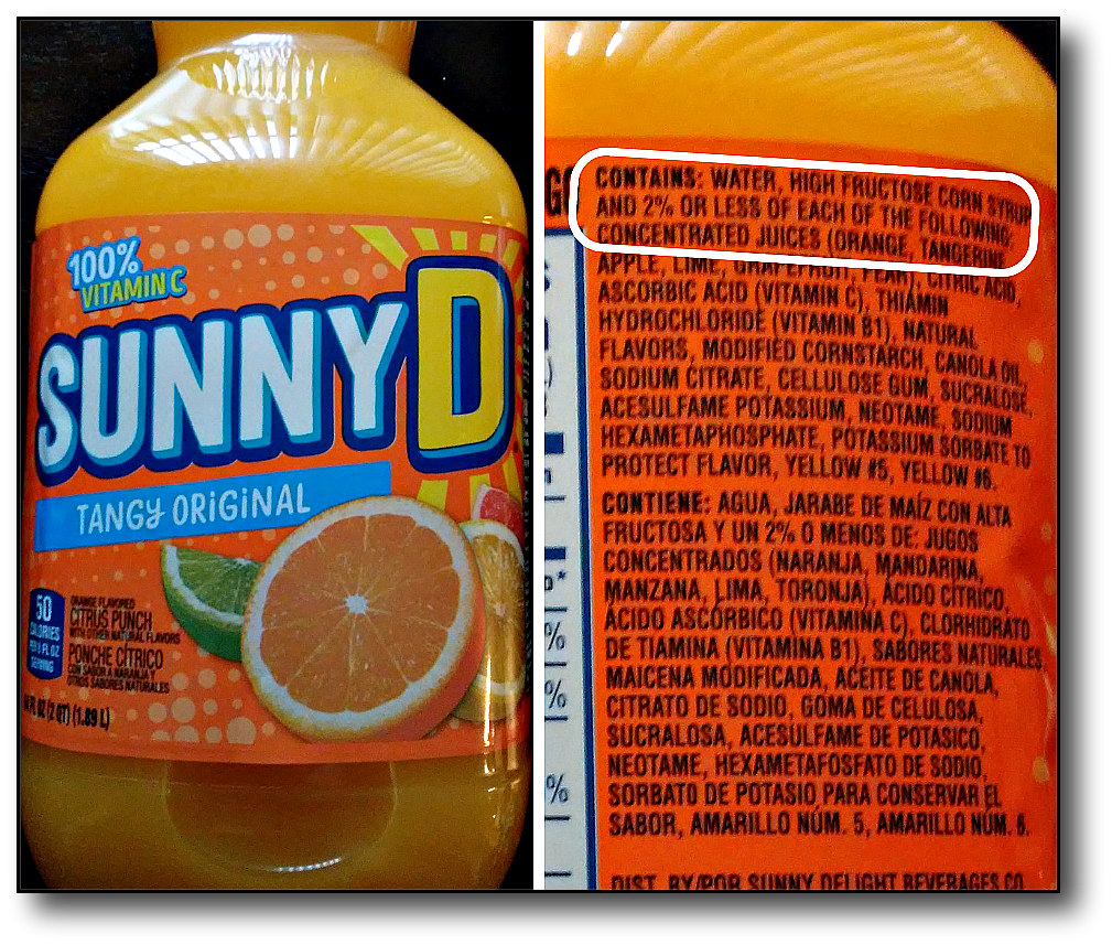 fruit juice concentrate - sunny d 2