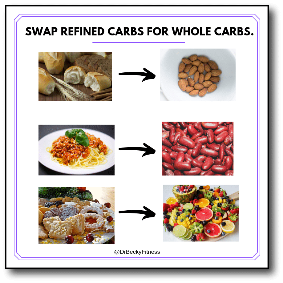 swap refined carbs for whole carbs